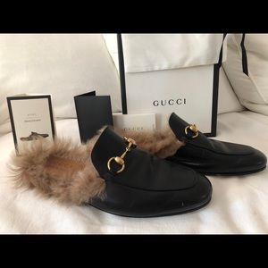 Gucci princetown fur loafers mules Womens 9 men 7